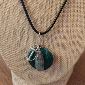Chrysolite and Moss Jasper Nautical Necklace